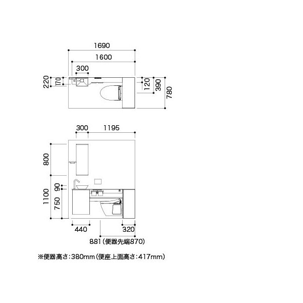 UWFAB1LFA71N21KBA TOTO レストパルF 床排水 L型 Mサイズ すっきり収納タイプ