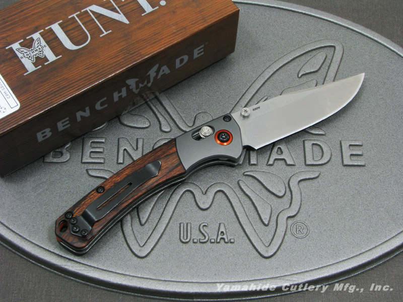 ベンチメイド ハント 15085-2 ミニ クルックド リバー/ウッド 折り畳みナイフ ,BENCHMADE Hunt Mini Crooked River