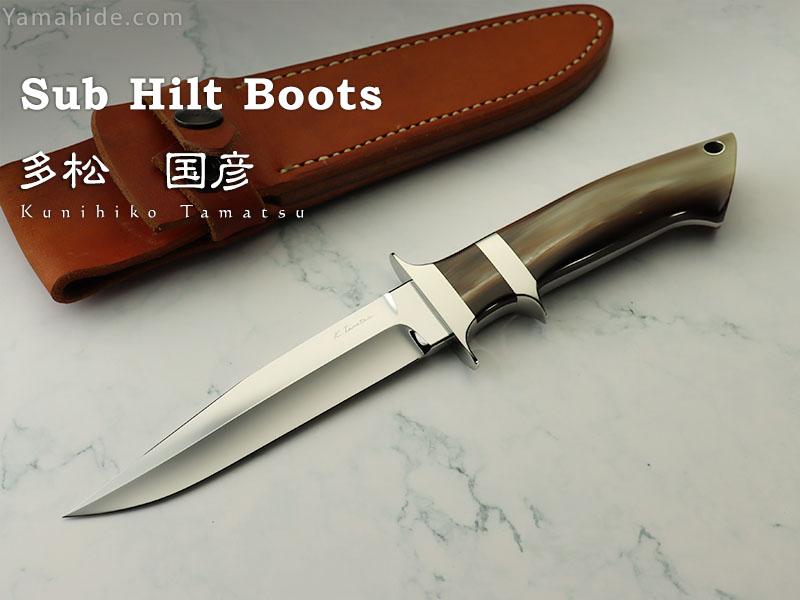 【取寄】多松 国彦 作 サブヒルト・ブーツ ATS-34 オランダ水牛 シースナイフ,Kunihiko Tamatsu Custom Knife
