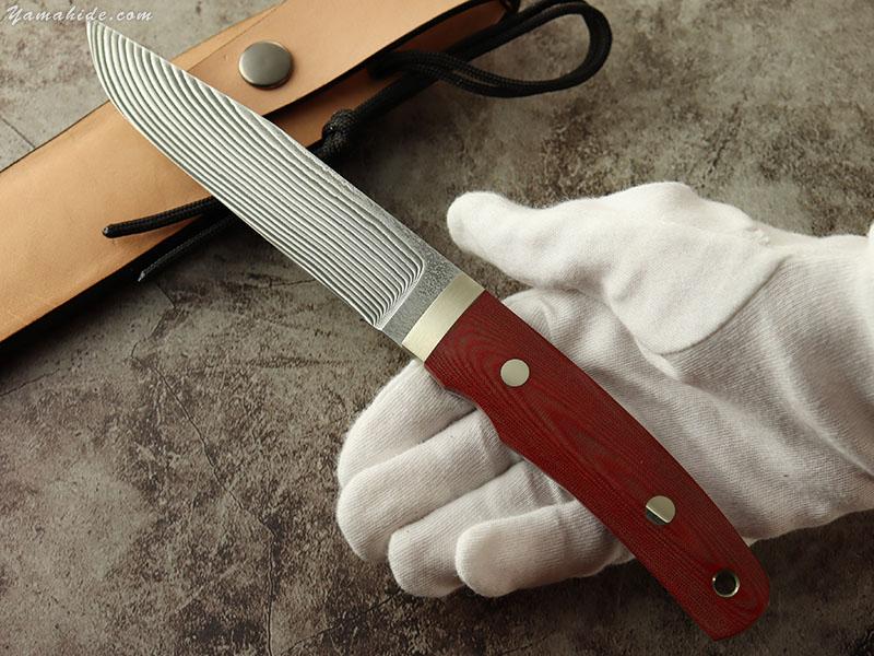 松浪 力也 作 レンジャーSP2 レッドリネンマイカルタ コアレス積層鋼 シースナイフ,Rikiya Matsunami Custom knife