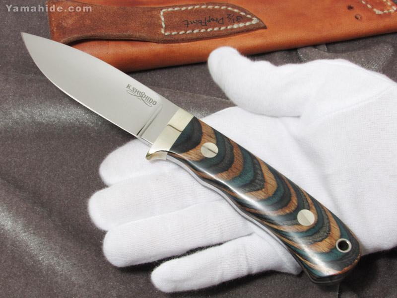 .宍戸 克麿 作 9103 ドロップポイント 3 1/2インチ VG-10,ラミネートウッド シースナイフ,Katsumaro Shishido Drop point Custom knife