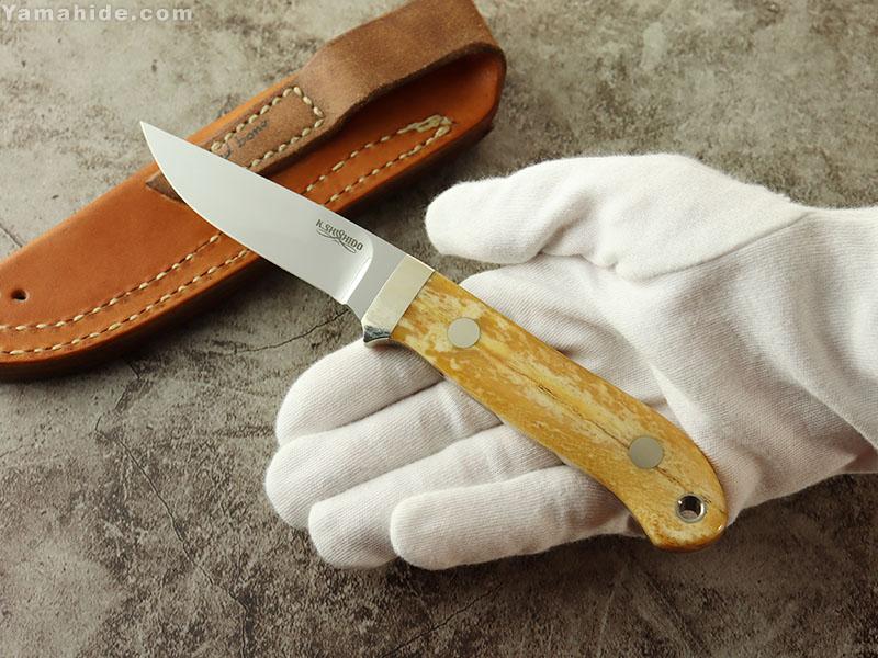"""宍戸 克麿 作 8072 ケーパーフィン 3 1/3"""" / ATS-34,オールドボーン / シースナイフ/ラブレストリビュート / Katsumaro Shishido Custom knife"""