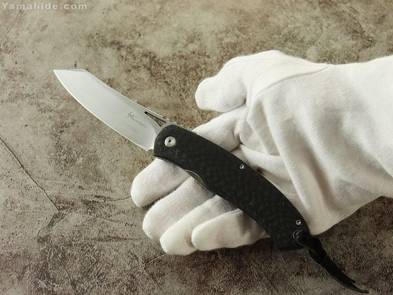 松野 寛生 作 LRF05-L カーボン 折り畳みナイフ,Kansei Matsuno Custom Knife