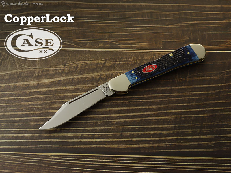 ケース 07064 カッパーロック ネイビーブルーボーン ロックバック 折り畳みナイフ,Case Navy Blue Bone Rogers Jig CopperLock