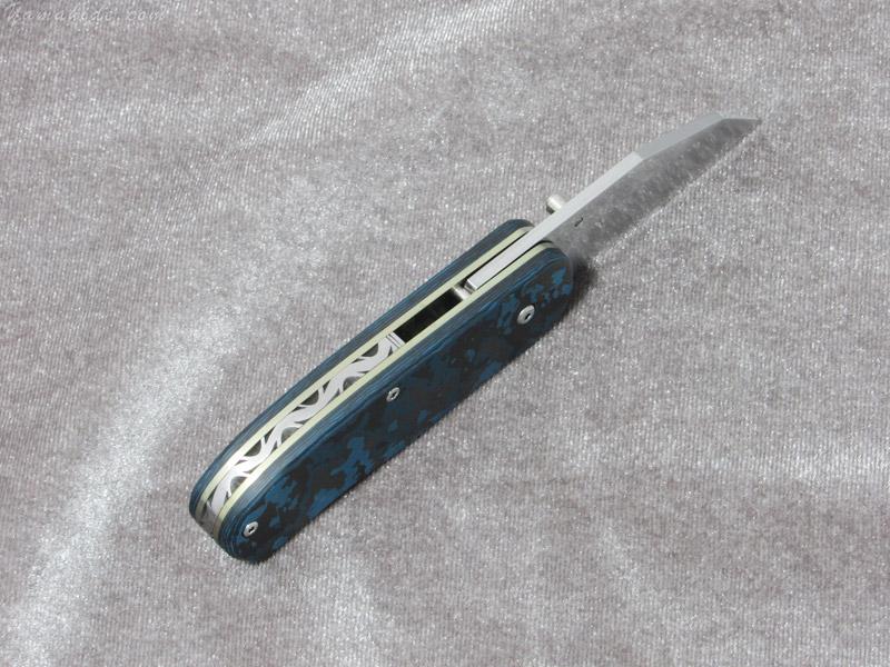 【取寄】大渕 勲 作 9124 マンボウ2 ブルー ファイルワーク 折り畳みナイフ,Isao Ohbuchi Manbow custom knife