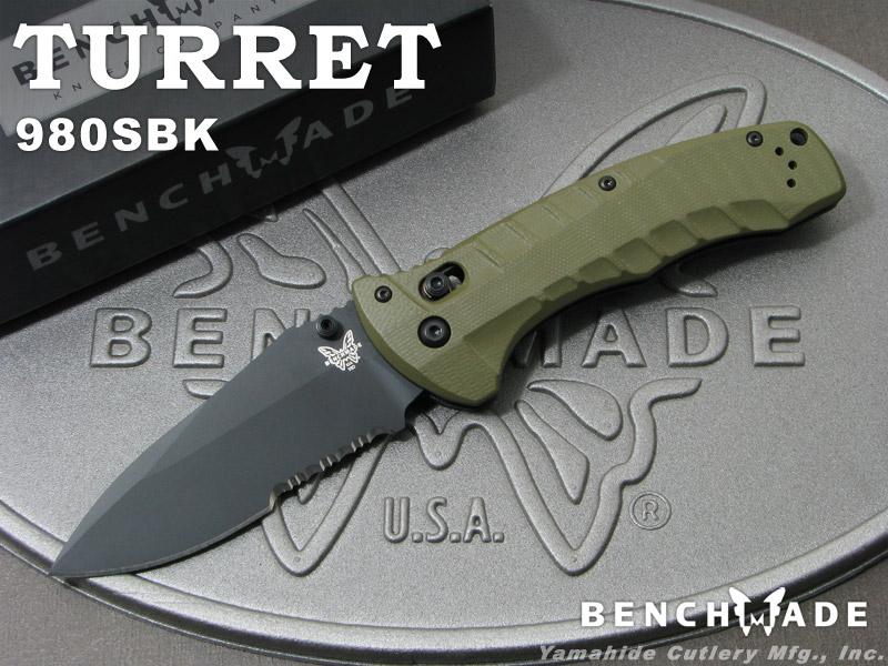 ベンチメイド 980SBK タレット ブラック直波コンビ刃 ,折り畳みナイフ ,BENCHMADE Turret