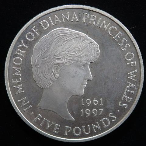 【外国銭】 イギリス ダイアナ妃 5ポンドプルーフ銀貨 1999年 (未使用)