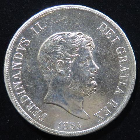 【外国銭】 イタリア 120グラナ銀貨 1854年 KM369 (極美品)