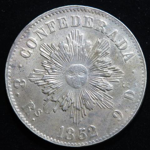 【外国銭】アルゼンチン コルドバ 8レアル銀貨 1852年 (極〜美品)