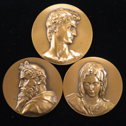 【銅メダル】  ミケランジェロ生誕500年記念 銅メダル3種セット (未使用)
