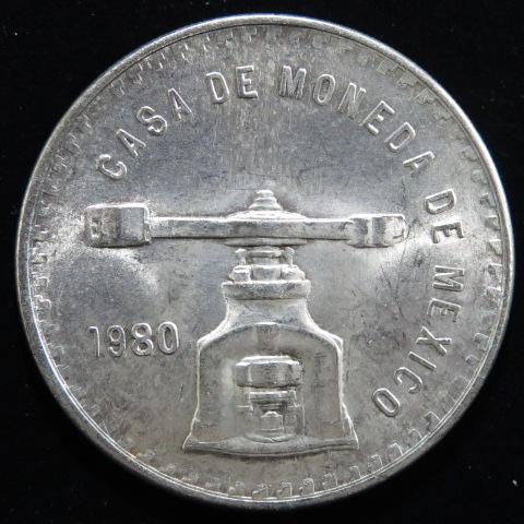 【外国銭】 メキシコ 1オンザ銀貨 1980年 (未使用)