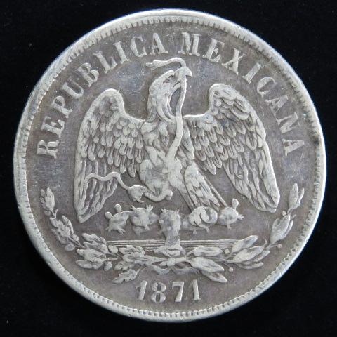 【外国銭】 メキシコ 1ペソ銀貨 1871年 荘印1(美品)