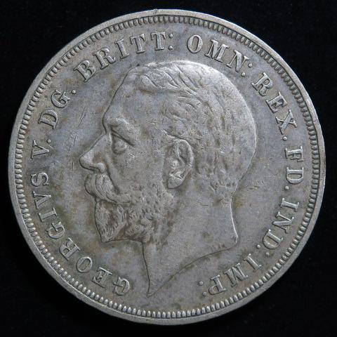 【外国銭】 イギリス ジョージ5世 1クラウン銀貨 1935年 (美品)