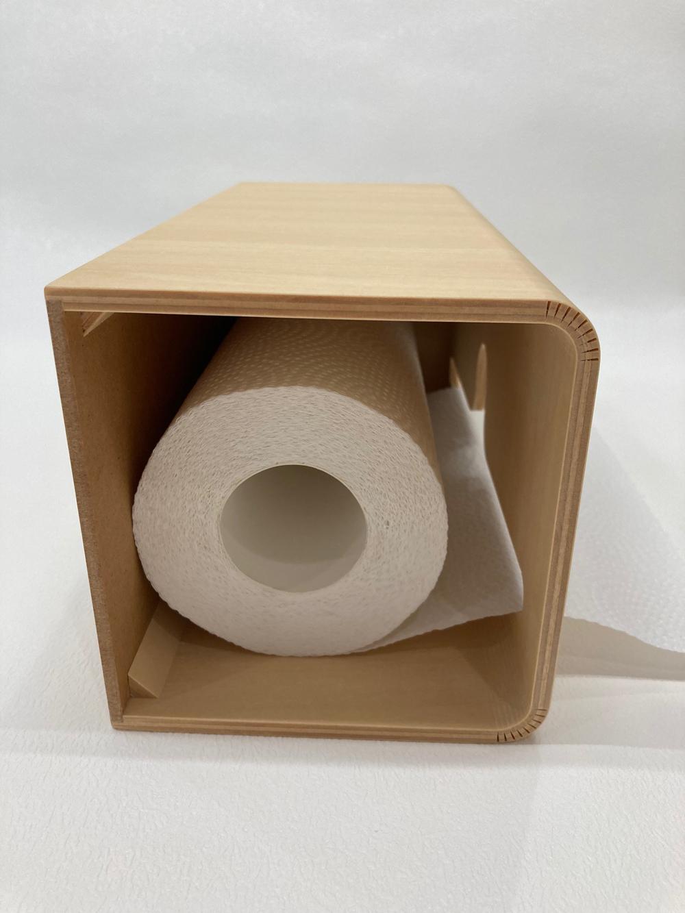 シナ材のロールペーパーケース