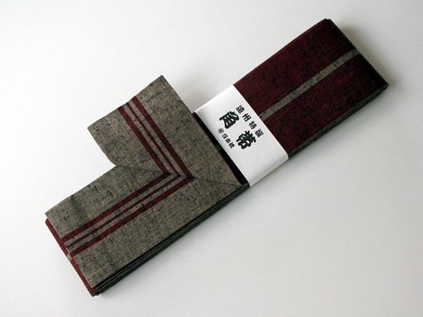リバーシブル角帯/エンジ地×薄茶、薄茶地×エンジ/大人用