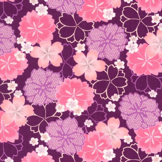 手拭い/牡丹桜/白・紫・黒