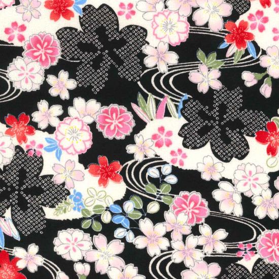 手拭い/桜流水/ピンク・赤・紫・黒