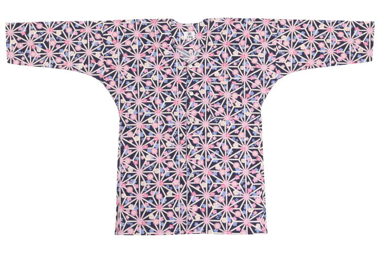 オリジナル鯉口シャツ【麻の葉桜】/紺/大人用S、M