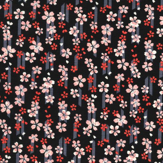 オリジナル鯉口シャツ【桜と矢絣】/黒/大人用S