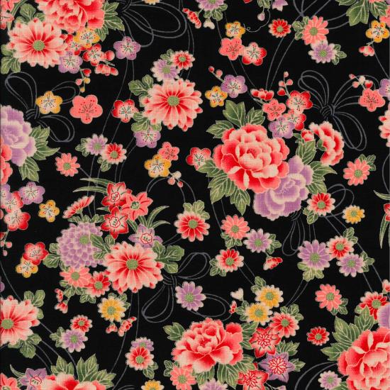 子供用◆ オリジナル柄鯉口シャツ【花結び】/黒・紺・カーキ・赤・ピンク/1号〜7号