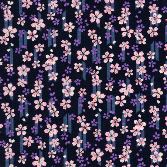 子供用◆ オリジナル柄鯉口シャツ【桜と矢絣】/黒・紺・紫・赤・ピンク/1号〜7号