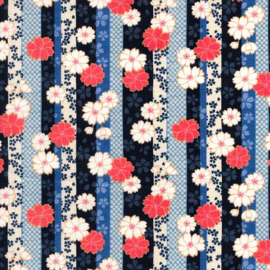 子供用◆ オリジナル柄鯉口シャツ【縞桜】/黒・紺・赤/1号〜7号