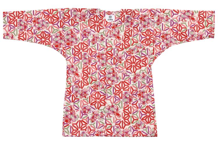 子供用◆ オリジナル柄鯉口シャツ【麻の葉多彩】/青・赤/1号〜7号