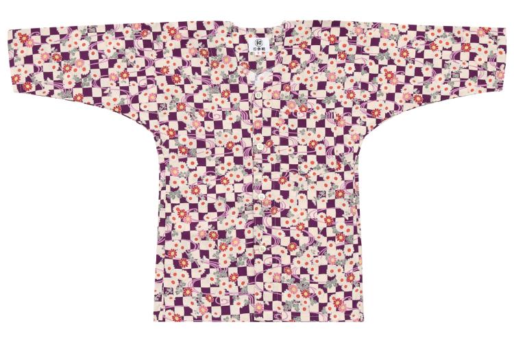 子供用◆ オリジナル柄鯉口シャツ【花市松】/黒・紫・青・赤・ピンク/1号〜7号