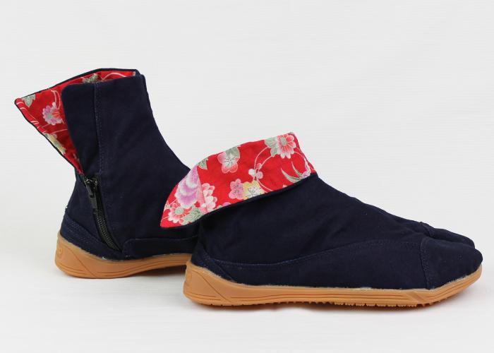 カジュアル地下足袋/藍染め(花結び・赤)/サイズ 22.5〜25.5