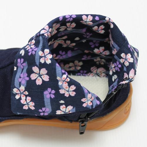 カジュアル地下足袋/藍染め(桜と矢絣・紺)/サイズ 22.5〜25.5