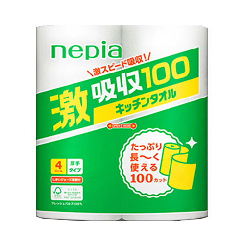 【送料無料 キッチンタオル】ネピア激吸収キッチンタオル(4R100カット)