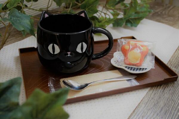 母の日黒猫 可愛い猫 ネコマグカップ 焼き菓子 マドレーヌ 肉球マドレーヌ4種 黒猫マグカップ 誕生日プレゼント猫 谷中堂