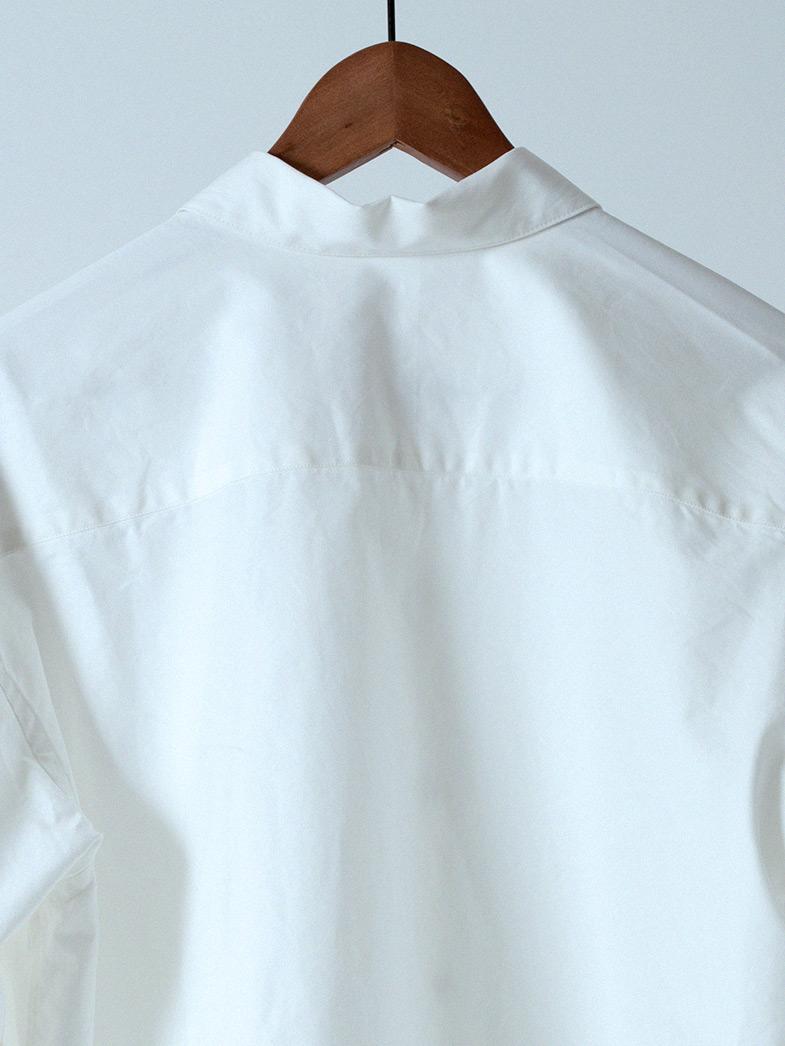 yaunn ブルゾンタイプ シャツ 白/COTTON JACKET LIKE SHIRT WHITE
