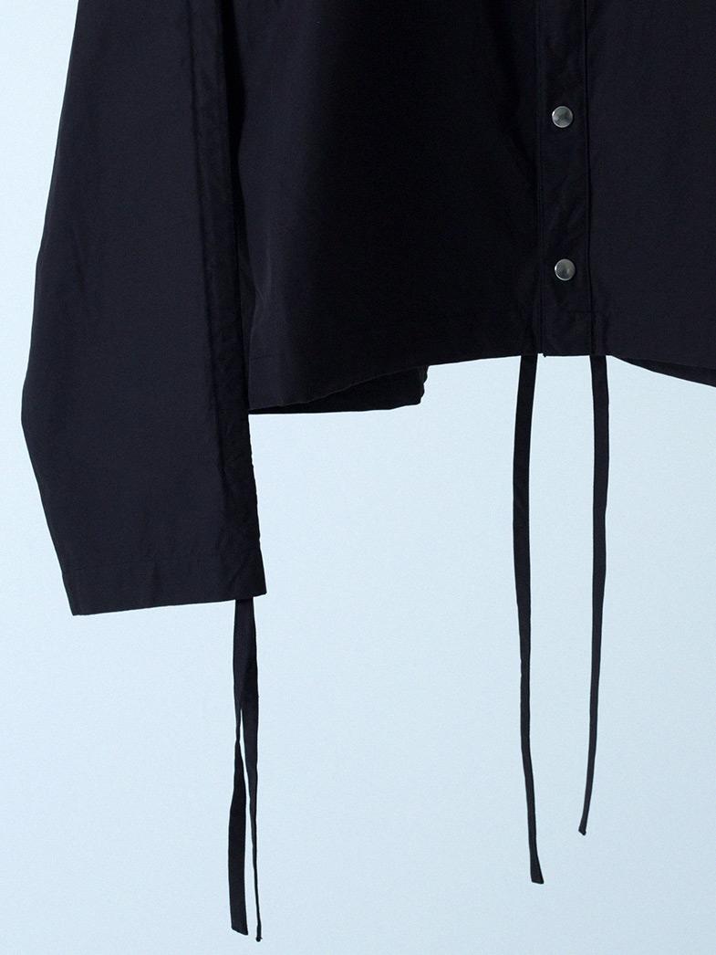 yaunn ブルゾンタイプ シャツ 黒/COTTON JACKET LIKE SHIRT BLACK