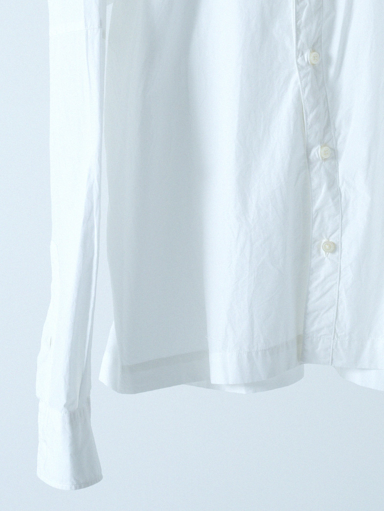 yaunn アシンメトリー シャツ 白/COTTON ASYMMETRY SHIRT WHITE