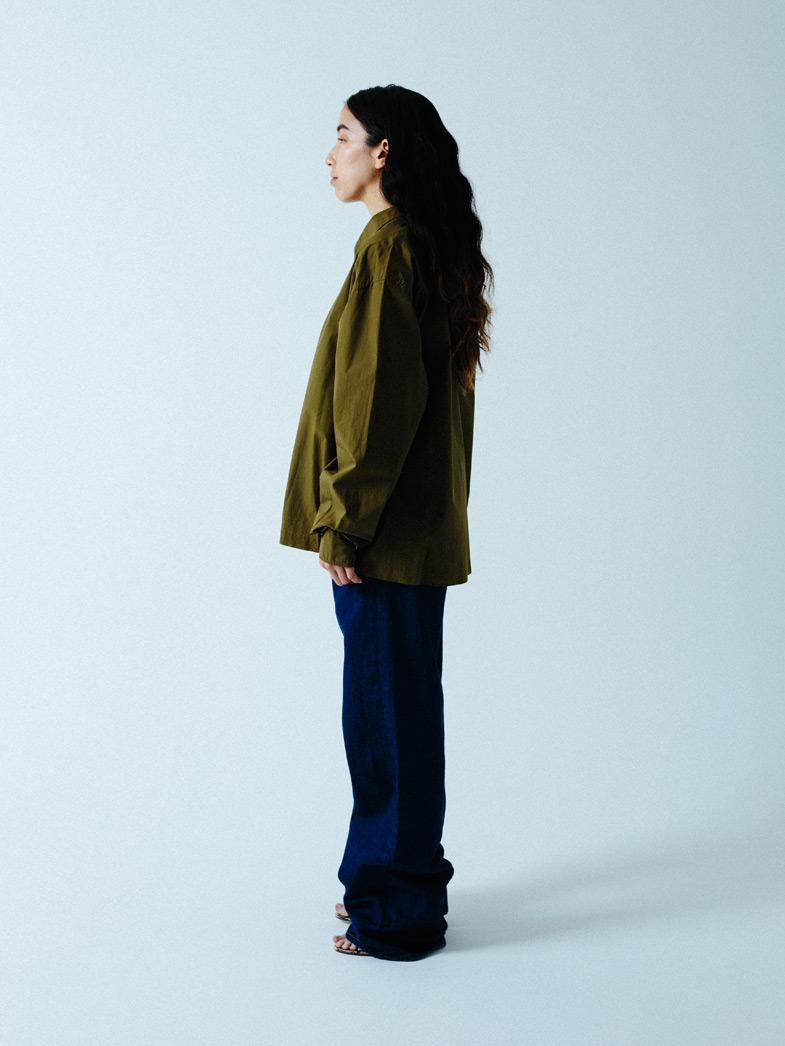yaunn アシンメトリー シャツ カーキ/COTTON ASYMMETRY SHIRT KHAKI