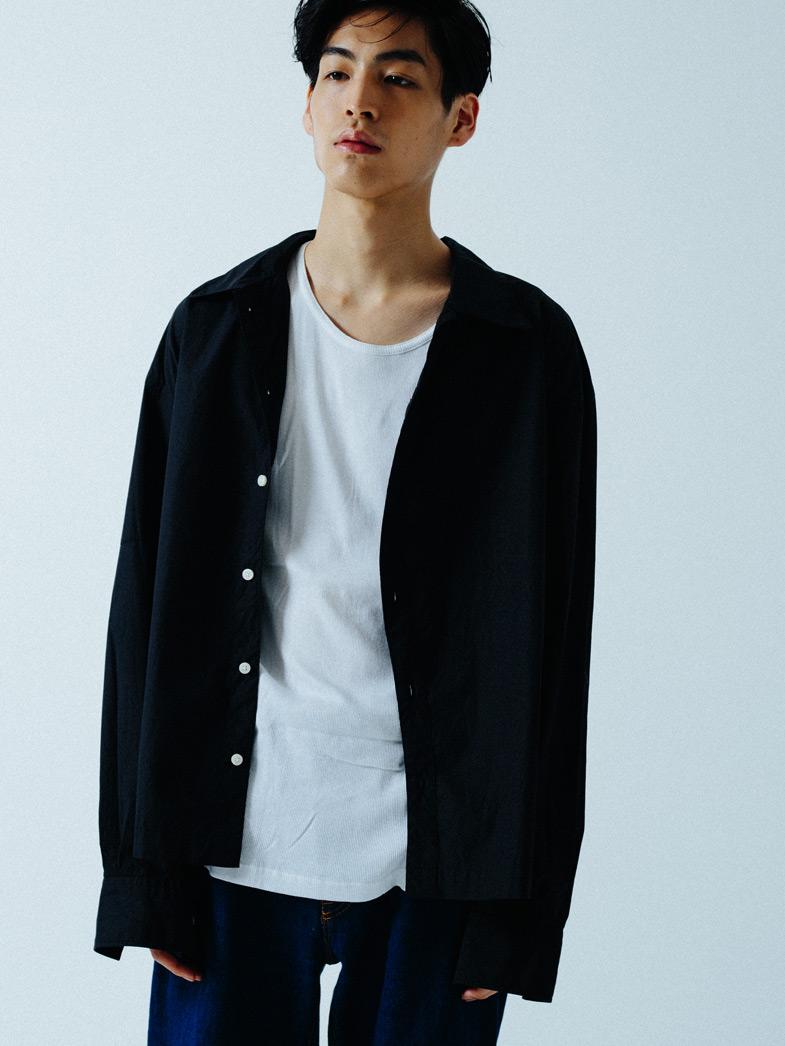 yaunn アシンメトリー シャツ 黒/COTTON ASYMMETRY SHIRT BLACK