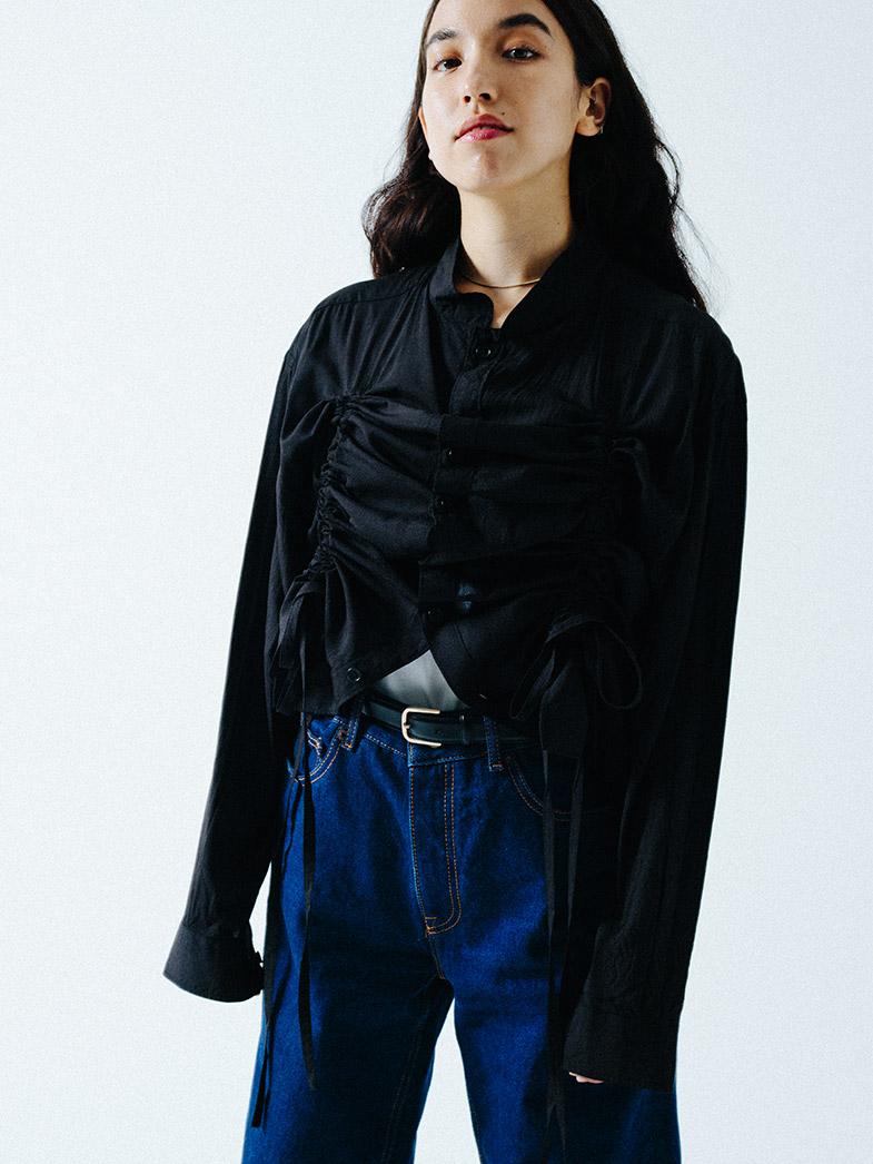 yaunn ドレープ シャツ 黒/COTTON DRAPE SHIRT BLACK