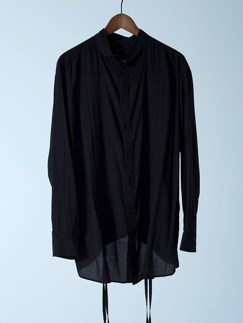 yaunn ドレープ シャツ 黒/DRAPE SHIRT BLACK