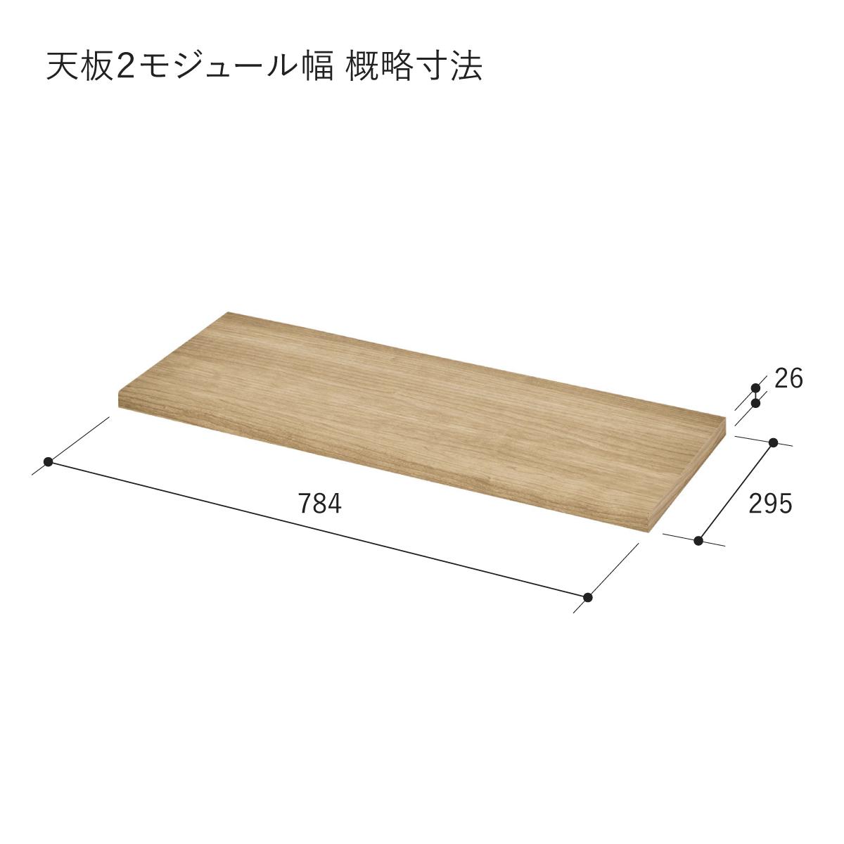 【V-TISS LIGHT】 天板 2モジュール幅(背面溝なし)