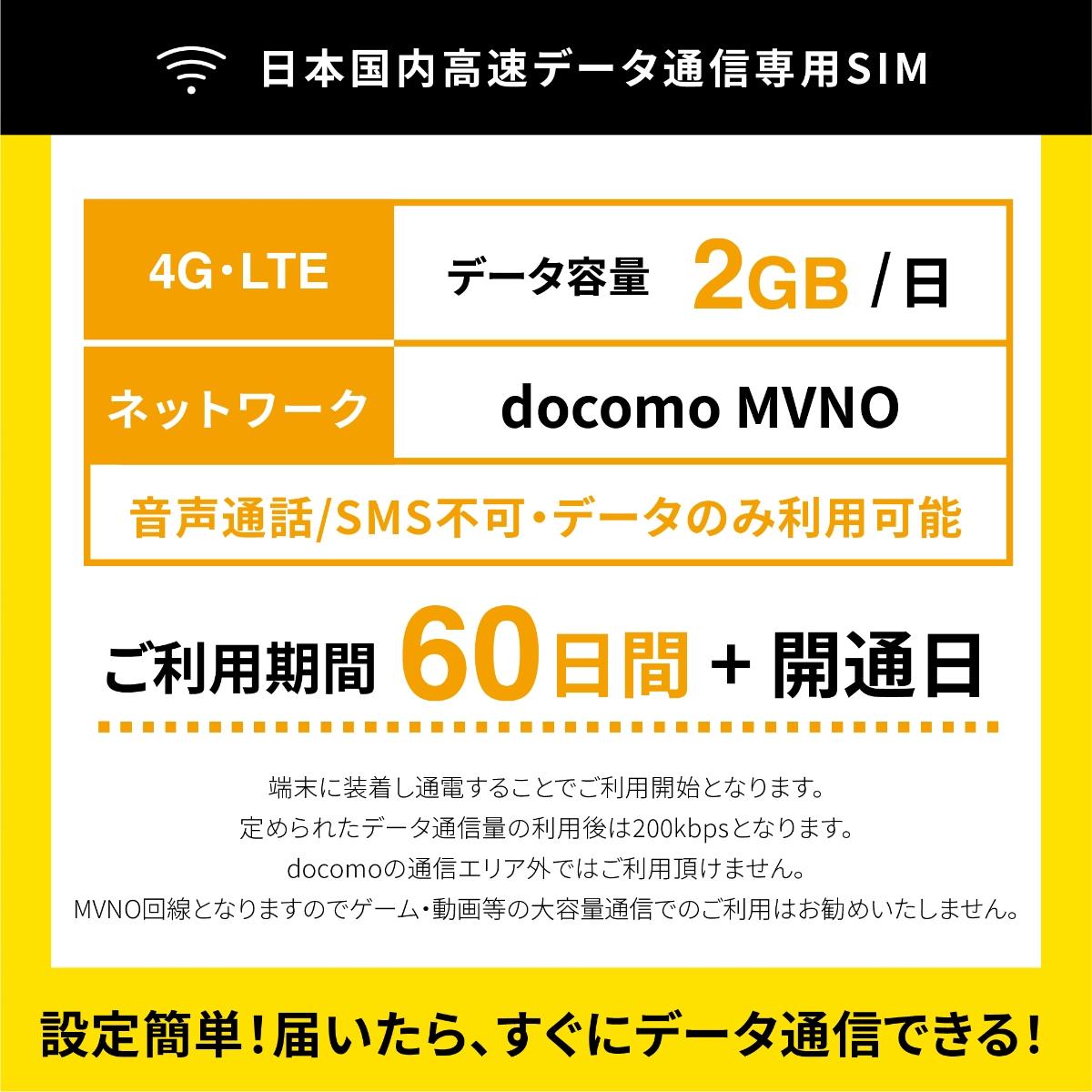 日本国内データ専用SIM コミコミパック docomo MVNO回線 LTE 1日2GB 30日/60日/90日