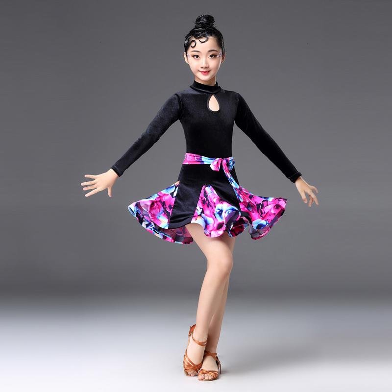 女の子 上下セット キッズ 花柄 長袖 スカート 社交ダンス衣装  発表会 競技 大会 ダンス衣装 ステージ衣装 子供 エレガント Aライン フレアー シンプル ショーダンス イベント用 社交ダンス ジャズダンス ラテンダンス ブルー レッド ホワイト