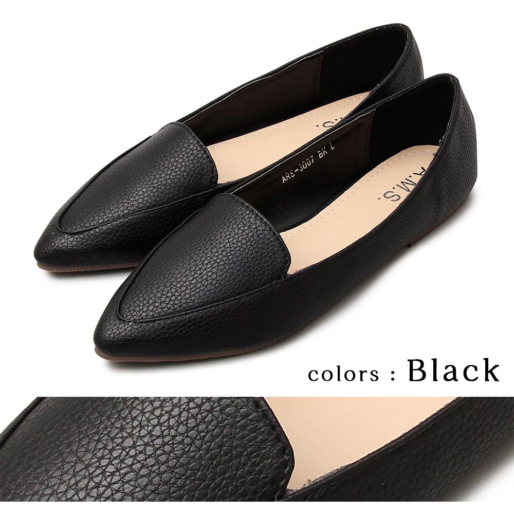 ポインテッドトゥフラットパンプス  ローファー フラットシューズ カジュアル レディース レディースシューズ 通勤 大人 大人女子 トレンド 流行 オンスタイル フェミニン 上品 履きやすい ブラック シルバー ベージュ 黒  20代 30代 40代
