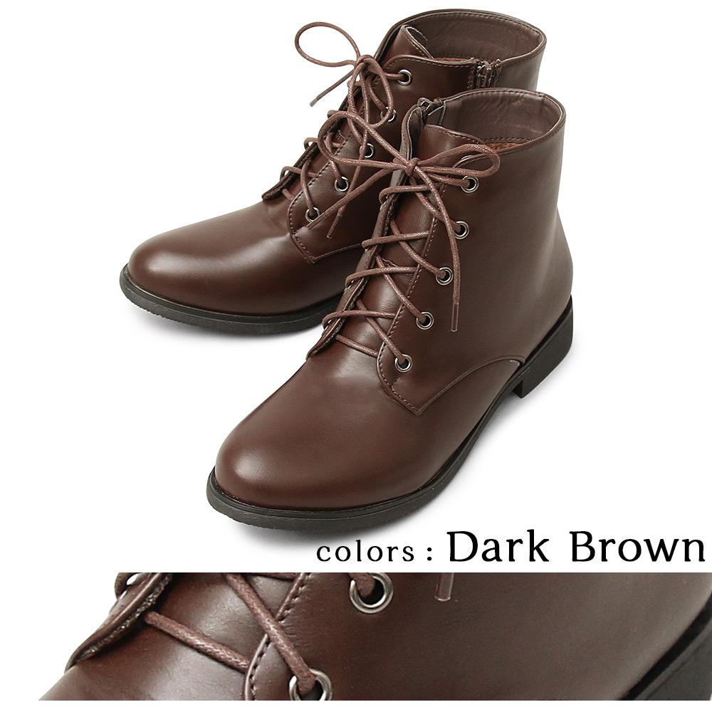 ショートブーツ レースアップブーツ レディースブーツ ブーツ ローヒール シンプル マニッシュ ガーリー 大人 ベーシック メンズライク 女子 通学 ブラック 黒 ダークブラウン 茶 靴 くつ クツ スエード スムーズ サイドジップ 履きやすい