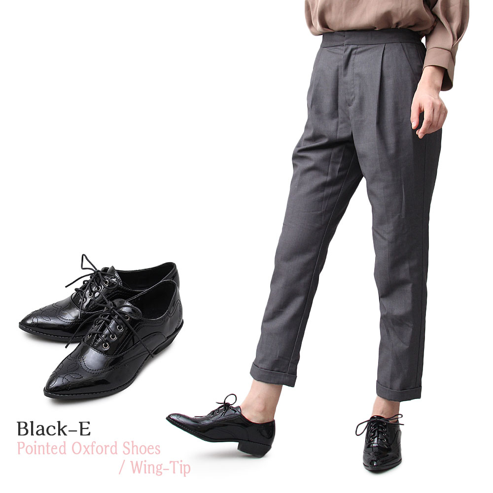 オックスフォードシューズ ポインテッドトゥ レディースシューズ ウィングチップ レースアップ おじ靴 通勤 通学 エナメル ブラック シルバー 黒 靴 くつ メンズライク 大人 女子 マニッシュ シンプル ベーシック シャープ 楽ちん 低め 履きやすい