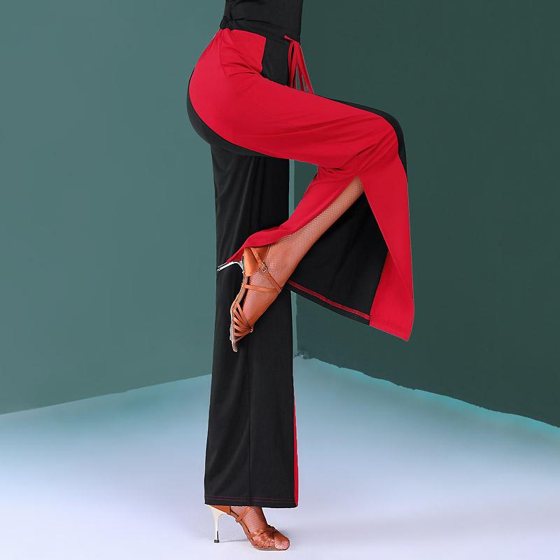レディース 社交ダンスパンツ サイドスリットパンツ ワイドパンツ 黒 ブラック 赤 レッド シンプル 大人 上品 キレイ ダンスパンツ ジャージ トレーニングウェア レッスン着 練習用 ウエストゴム ロングパンツ ダンス大会 競技用 ワルツ タンゴ ラテンダンス 大きいサイズ