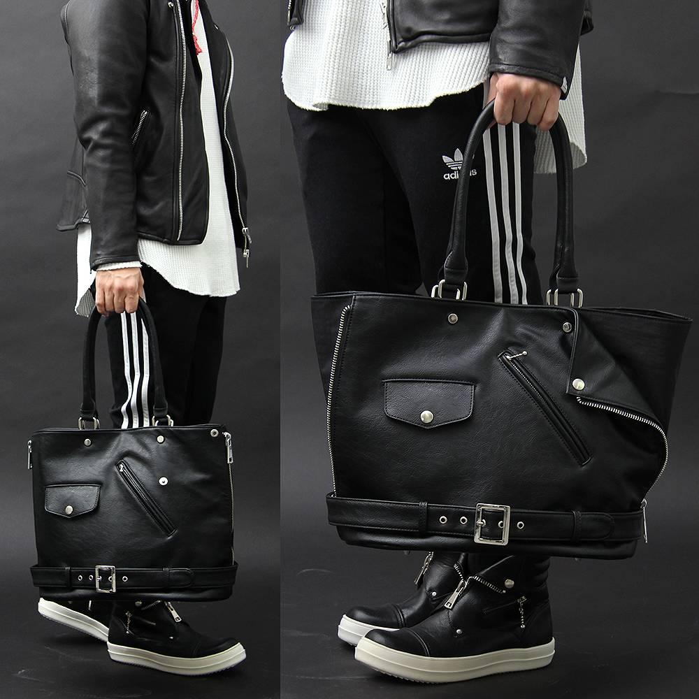 トートバッグ メンズバッグ ユニセックス ライダース型 変形 ライダースジャケット 男女兼用 A4 バッグ 黒 BLACK ロック ROCK ヴィジュアル系 V系 モード MODE ラグジュアリー 高級感 黒 合皮 革 レザー 個性的 個性 大容量