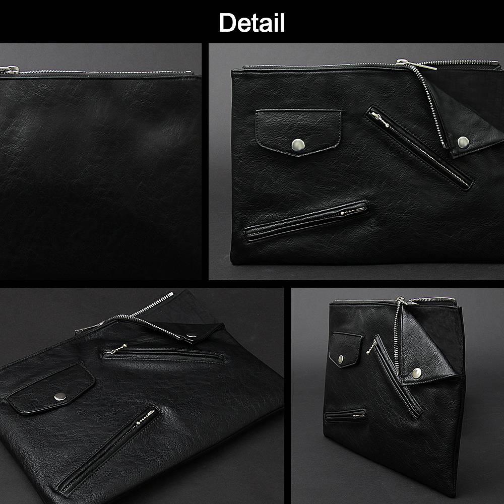 クラッチバッグ ハンドバッグ メンズバッグ ユニセックス ライダース型 変形 ライダースジャケット 男女兼用 バッグ 黒 BLACK ロック ROCK ヴィジュアル系 V系 モード MODE ラグジュアリー 高級感 黒 合皮 革 レザー 個性的 個性