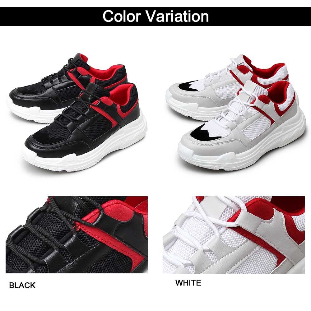 ダッドスニーカー 靴 カジュアルシューズ 分厚い スニーカー ストリート メンズスニーカー トレンド感 流行 黒 白 ボリューミー 90年代 メンズ 男性 レースアップシューズ ハイテクスニーカー 個性的 個性 派手 モード MODE ラグジュアリー