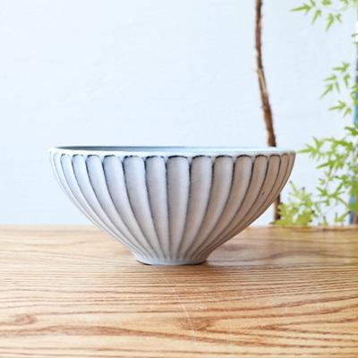 萩焼 しのぎ鉢(ホワイト・ライトブルー)